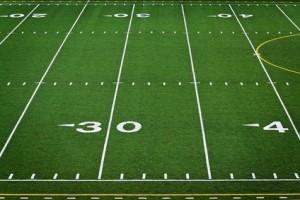 An empty high school football field